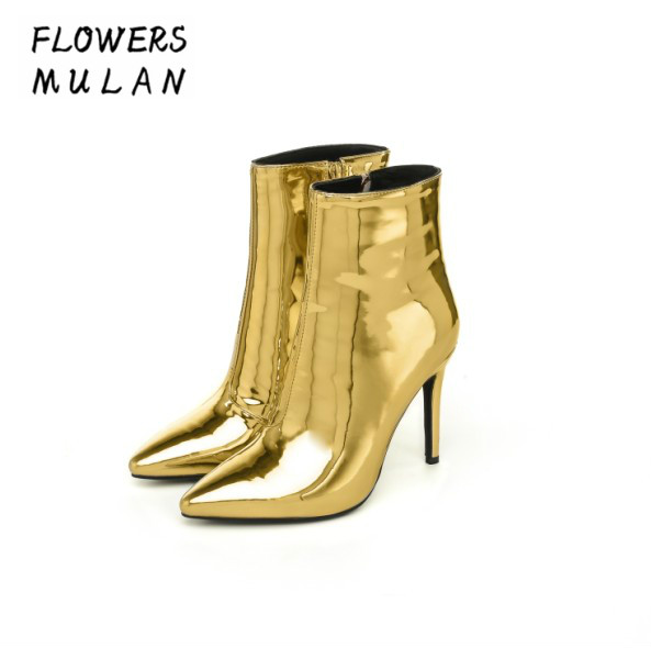 Luxury Gold Silver Genuine Leather Upper Ankle Boots For Women Elegant Pointed Toe Model T Show Shoes Woman Side Zip High HeelsLuxury Gold Silver Genuine Leather Upper Ankle Boots For Women Elegant Pointed Toe Model T Show Shoes Woman Side Zip High Heels