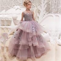 New Hot Girls Tulle O neck Sleeveless Flowers Ball Gowns Floor Length Elegant Girls Princess Dress Birthday Party Wedding Gowns