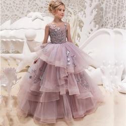 Nuevo vestido de fiesta de cumpleaños de princesa para niñas elegante largo hasta el suelo con flores sin mangas y cuello redondo