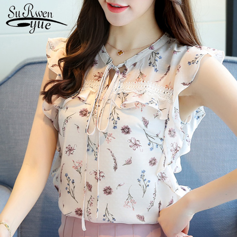 2018 fashion print chiffon women   blouse     shirt   fashion 2018 sleeveless summer tops blusas v-neck women's clothing blusas 0026 30
