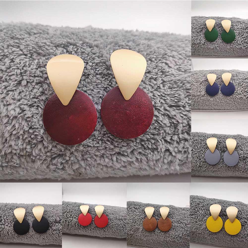 2019 Women 39 s Jewelry Irregular Golden Geometric Earrings Hanging Round Wood Pendant Earrings Scrub Earrings for Women P820 P823 in Drop Earrings from Jewelry amp Accessories