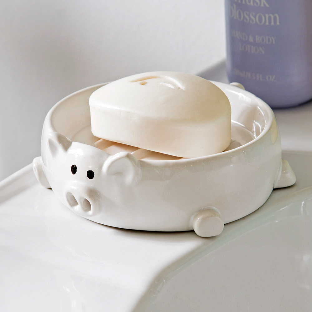 Ceramic bathroom soap dish in pig shaped bath accessories for Ceramic bath accessories