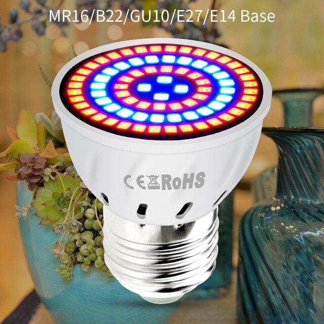 AC220V E27 Phyto Lampen E14 Led Fitolampy GU10 Lamp Voor Planten B22 Volledige Spectrum Zaailing Lamp MR16 Led Grow Light uv Ir 4W 6W 8W