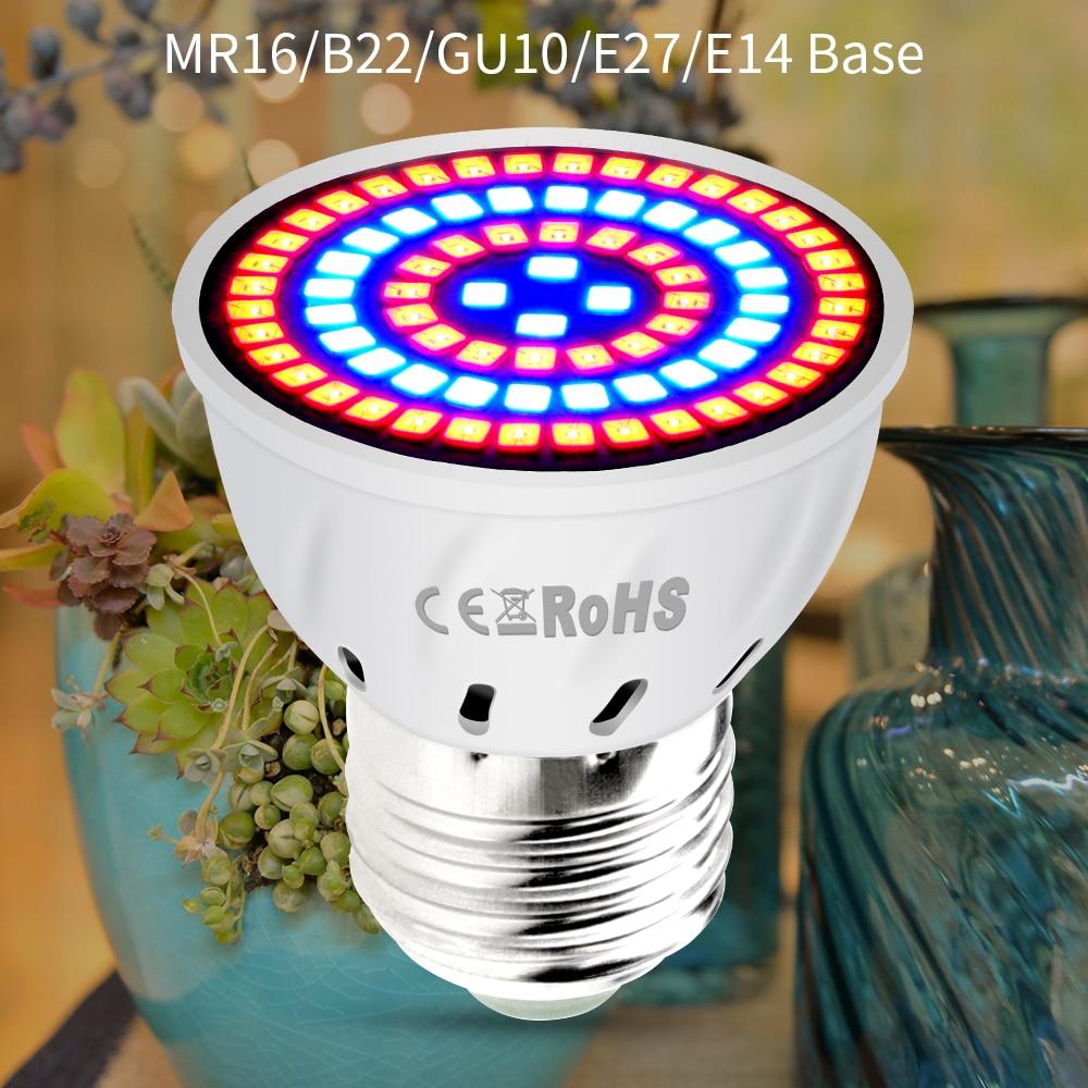 AC220V E27 Phyto Lamps E14 Led Fitolampy GU10 Lamp For Plants B22 Full Spectrum Seedling Bulb MR16 Led Grow Light UV IR 4W 6W 8W-in Growing Lamps from Lights & Lighting