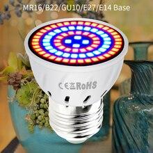 AC220V E27 Phyto lampes E14 Led Fitolampy GU10 lampe pour plantes B22 spectre complet semis ampoule MR16 Led lumière de culture UV IR 4W 6W 8W
