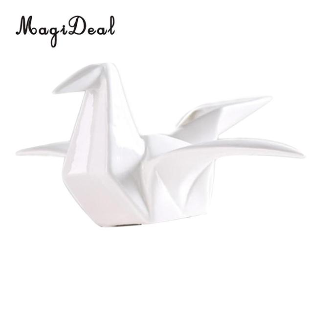 Ceramic Origami Crane Figurine Statue Home Office Decor Ornaments
