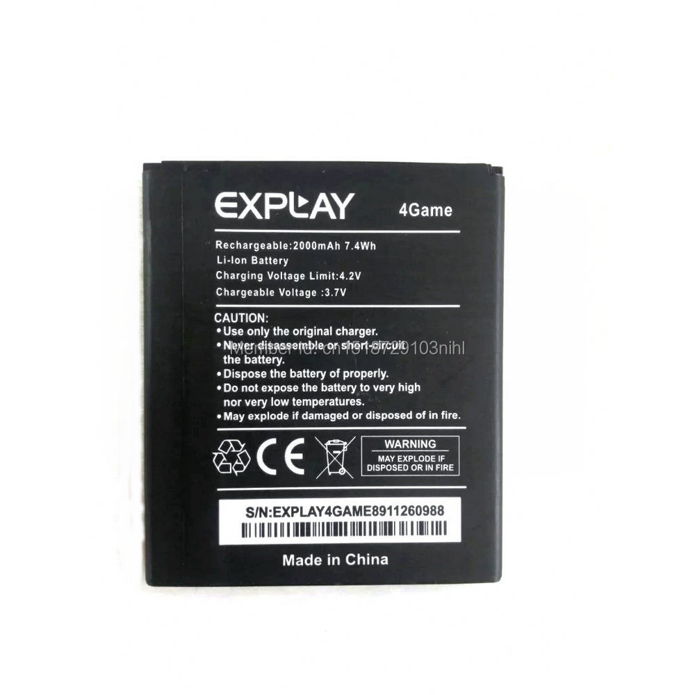 Battery For EXPLAY 4Game 4 Game 2000mAh Replacement Rechargeable Backup Phone Batterie Bateria Batterij + Tracking Number