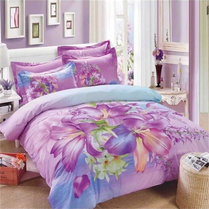 Light Purple Lily Flower Girls Bedding Set Queen Size 100% ...