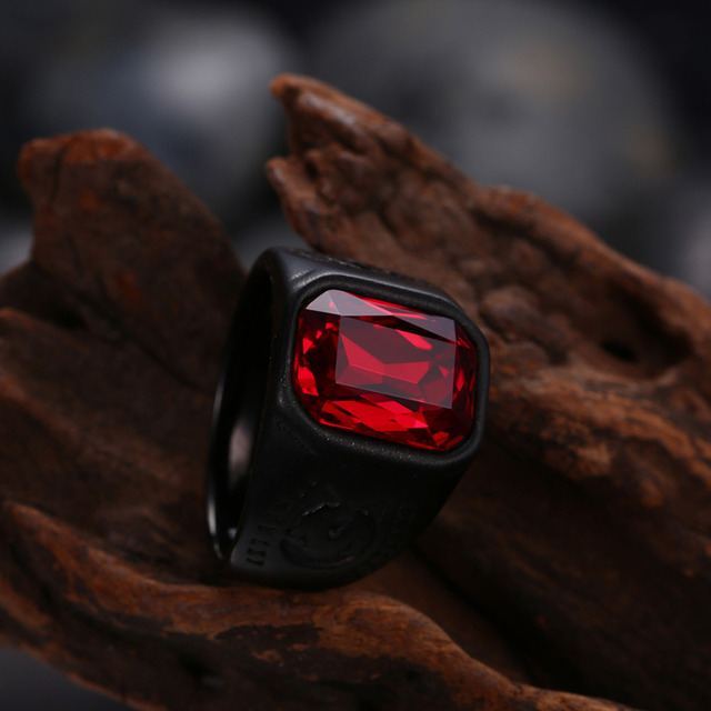 HNSP Vintage Red Stone Crystal Black Ring For Men Newst Male Ring Fashion jewelry Anel 7-12 Big Size