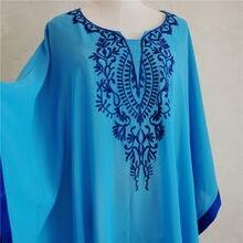 2019 Plus Size Blue Embroidered Summer Beachwear Chiffon Kaftan Beach Woman Tunic Bath Dress Robe plage Swim Wear Cover Up #Q746
