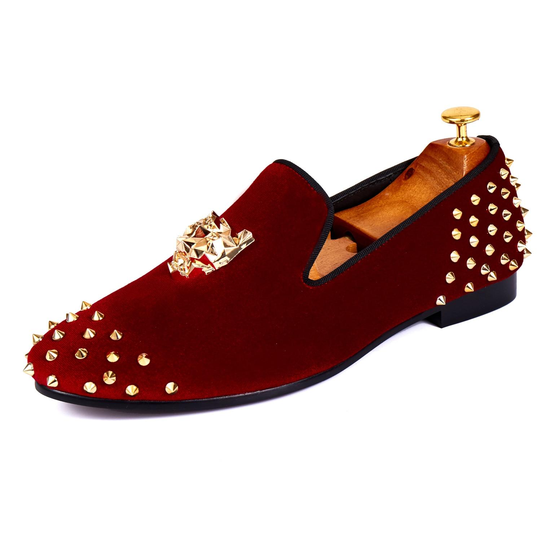 Harpelunde Mens Dress Scarpe Rivetti Red Velvet Fannullone Animale Fibbia Flats Size 7-14