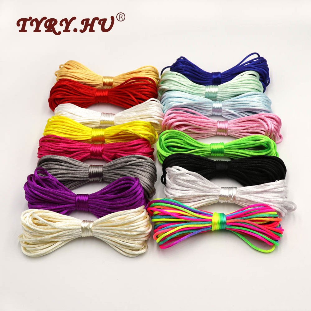 TYRY.HU Colorful 20Meters Satin Silk Rope Nylon Cord For Baby Teether Accessories Teething Necklace Rattail Cord DIY Tool