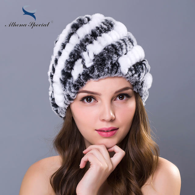 Athena Special Brand Women Knitted Rex Rabbit Hat Fashion Flower Colorful Real Rabbit Caps From Natural Genuine Rabbit Fur