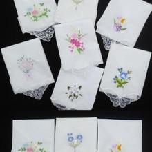 Handkerchief-Fabrics Cloth Flower Lace Floral Embroidered Cotton Women Ladies 3PCS Hankies