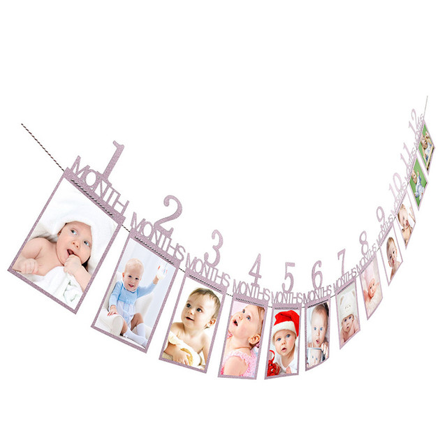 Photo Clips Kids Birthday Gift Decorations 1-12 Month Photo Banner Monthly Photo Wall 14X23cm Oct#2