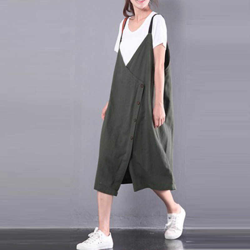 b49b36ab546f M-5XL New ZANZEA Women Sleeveless Cotton Linen Back V Buttons Down Harajuku Girl  Loose