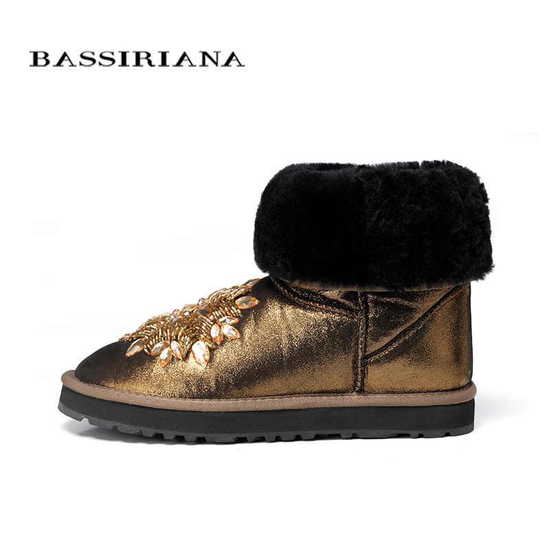 Çizmeler hakiki deri snowboots Ayakkabı kadın Kış 35-40 Sıcak rahat kadın ayakkabı Ücretsiz kargo BASSIRIANA