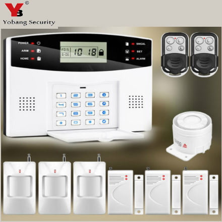 YoBang Security Home Protected LCD Display Wireless GSM Security Alert System With Door And Window Alarm Sensor For Wired Alarm.