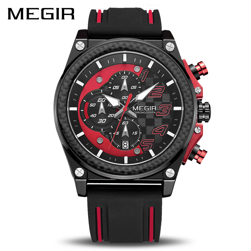 MEGIR Army Military Watches Fashion Chronograph Men Sport Watch Silicone Strap Quartz Wristwatches Clock Men Relogio Masculino geneva watches men 2017 binger fashion brand quartz clock army military sport watch digital wristwatches relogio masculino