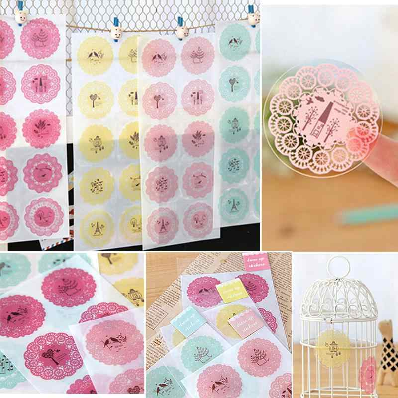 10 Sticker/sheet Stationery Stickers Scrapbook Round Lace Decoration Transparent Decorative Photo Album Diary Diy Decal