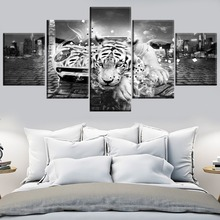 Canvas HD Prints Poster Wall Art Picture Framework 5 Pieces Abstract Artistic Sports Car Tiger Animal Painting Modern Home Decor