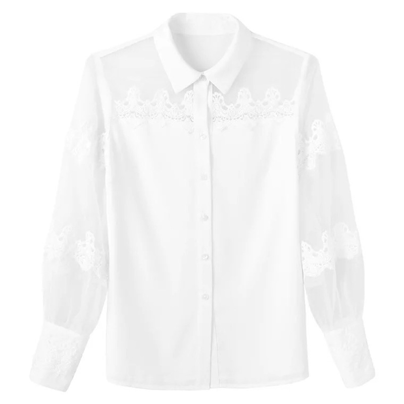 8c3fae58570 B003 elegant sheer puffy sleeve organza long sleeve women blouse-in Blouses    Shirts from Women s Clothing on Aliexpress.com