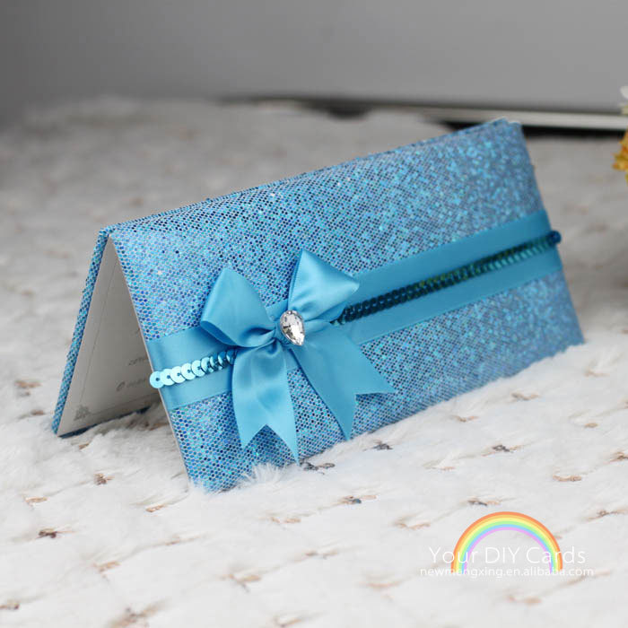 Muslim Blue Wedding Invitation Card With Handbag Luxury Shiny Turquoise Fabric Ribbon Bow Buckle Free Design On Aliexpress Alibaba Group