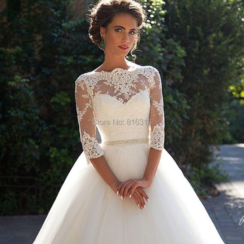 Vestidos De Noivas Plus Size Princess Rustic Wedding Dresses Three Quarters Sleeve Imported Bridal Long Dress