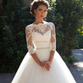 Vestidos de Noivas Plus size Princess Rustic Wedding Dresses Three Quarters Sleeve  Imported Bridal Long Wedding Dress