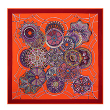 Geometric Design and Color 100% Silk Square Scarf Bandana turban Neck Dress Satin Seda Scarves Wholesale Price ZSFJ15