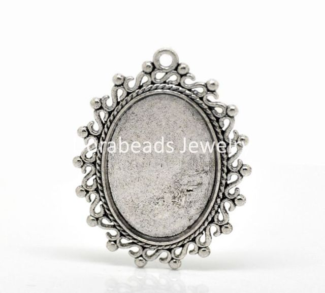 Doreen Box Lovely 10PCs Antique Silver Oval Cabochon Frame Setting ...