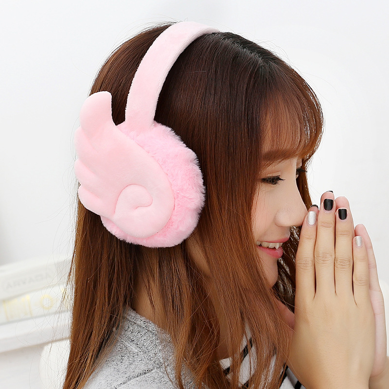 Wings Warm Earmuffs Thickening Women Earmuff Solid Thermal Earmuff Unisex Earmuffs Lovers Plush Ear Muffs Winter Warm Washable