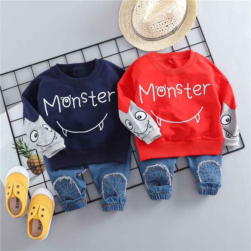 HYLKIDHUOSE 2019 Spring Baby Girls Boys Clothing Sets Children Clothes Suits Cartoon Casual T Shirt Pants Toddler Infant Costume