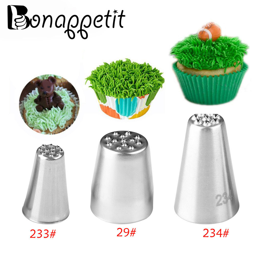 1/3Pcs Grass Cream Icing Nozzles Stainless Steel Pastry Fury Decoration Cupcake Head Cake Decorating Tools Pastry Tools(China)