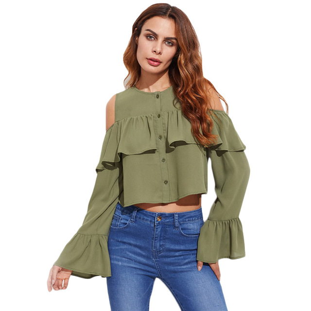 f41d463abcb NuoJin Ruffles Blouse Shirt Women Cold Shoulder Long Sleeve Crop Top Women Tops  Army Green Shirts Sexy Blouses Club Beach Blusa