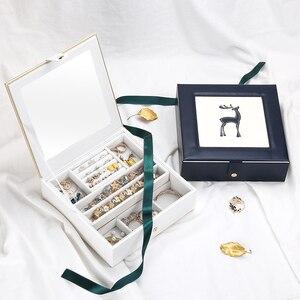 Image 4 - 2019 新ファッション革の宝石箱のギフトボックス包装ディスプレイ大絶妙な化粧ケース高級ジュエリーオーガナイザー