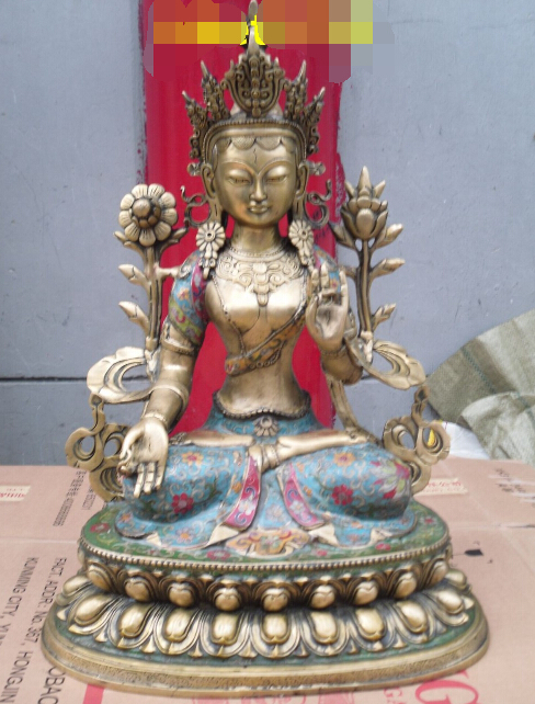"8 "" tall Tibetan Buddhist bronze double lotus bass green tara buddha statue"