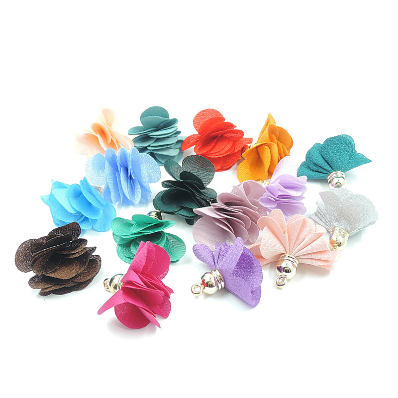 20pcs lot new arrival 3cm small silk tassel for earrings necklace jewelry making charms diy frabic flower tassels with gold cap in Jewelry Findings Components from Jewelry Accessories