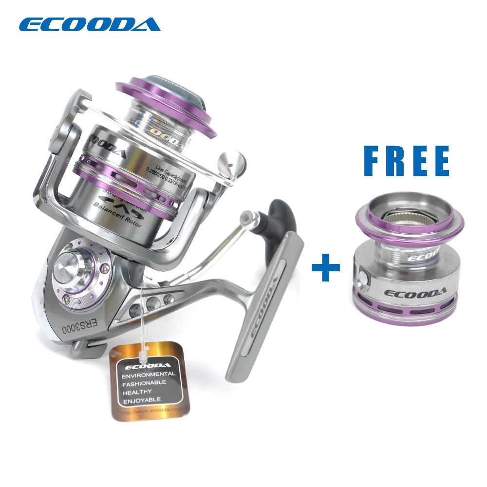 ECOODA Royal Sea Spinning Fishing Reel Metal Body Two Aluminum Spools Saltwater and Freshwater Open Face Reel ERS1500/2000/3000 free shipping black hawk ecooda second generation metal body spinning reell lure fishing reel fish reel