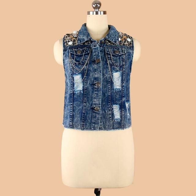 vintage women's bead paillette denim short vest waistcoat jacket women veste blouson femme AD9453VT