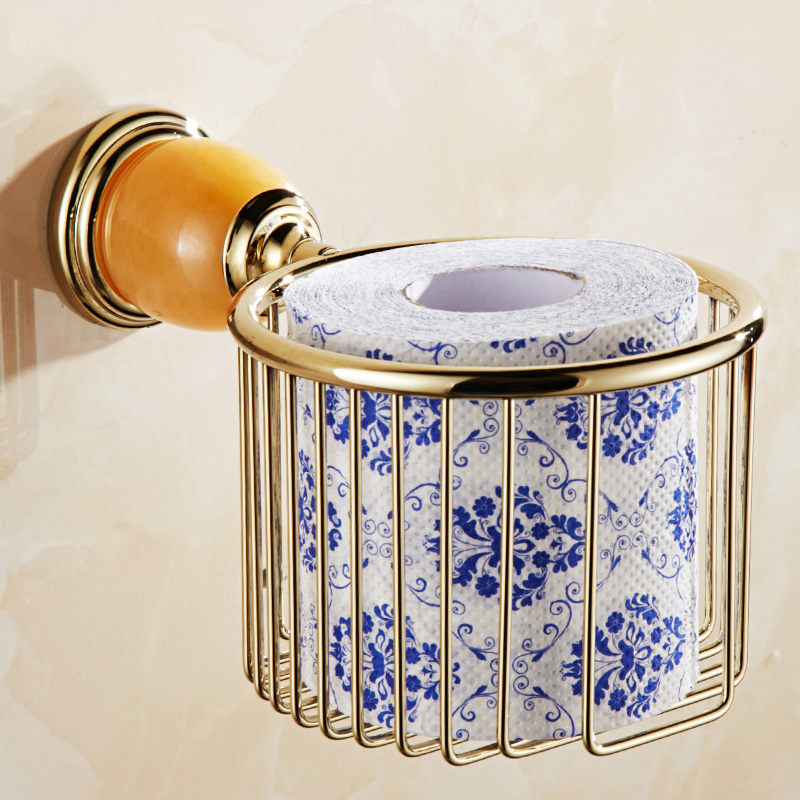 где купить  Paper Holders Golden Retro Paper Basket Holder With JeweL Decorative Wall Mounted Plating Finish Bathroom Accessories G3822K  по лучшей цене