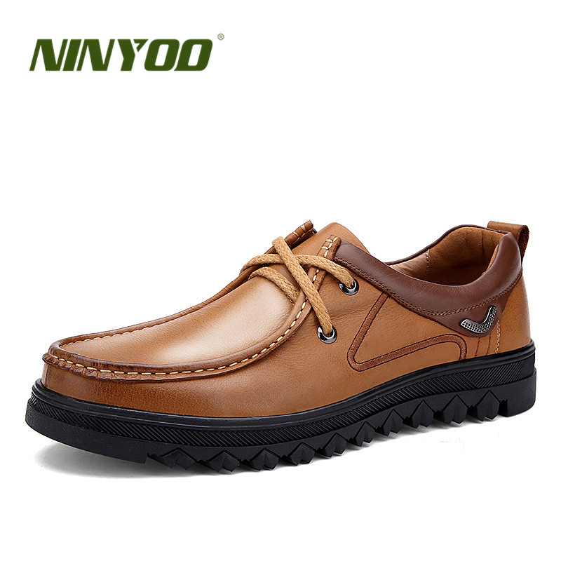 NINYOO Top Classic Men's Casual Shoes Genuine Leather Big Size 45 46 47 Wearproof Platform Lace Up Shoes Man Plus Size 48 49 50 цена