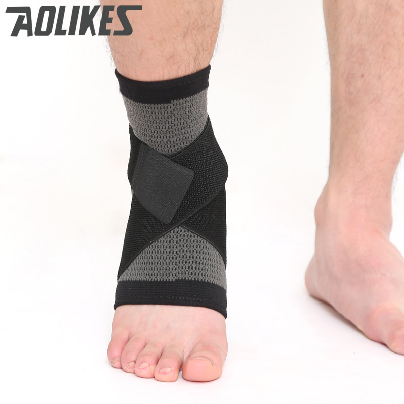 Aolikes 1 Set Soft Ankle Support Gym Running Protection Foot Bandage Elastic 3D Weaving Strap Ankle Brace Sleeves Brand New