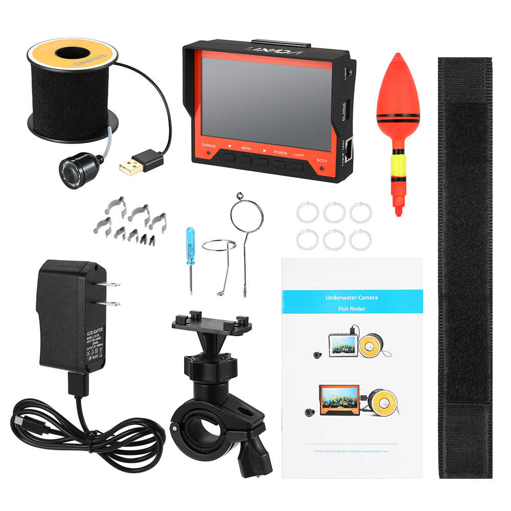 """Lixada 15M 1000TVL 4.3"""" Underwater Ice Fishing Camera Fish Finder with Wrist Strap 8 Infrared LED 140 Degree Wide Angle"""
