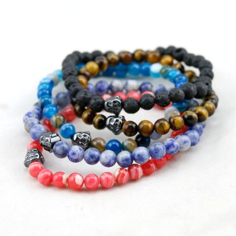 19 Style Natural Stone Round Beads Bracelets Women,Tiger Eye/Onyx Buddha Charm Bracelets Men, Wooden Bracelets, Yoga Bracelet