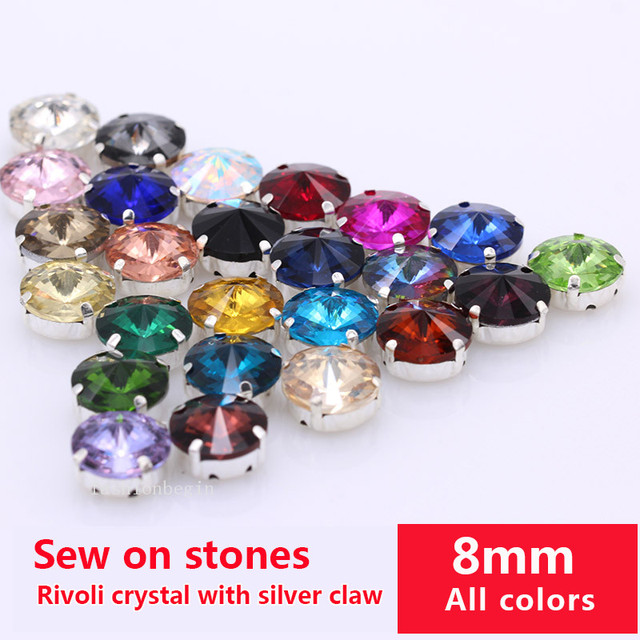 30p 8mm round rivoli color sewing on faceted crystal stone glass flatback rhinestones  jewels silver base bcb1d3d7e131