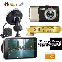4 pulgadas DVR HD cámara de doble lente 1080 P vehículo vídeo Dash Cam DVR Autoregistrars Dvr con cámara de visión trasera grabadora de vídeo