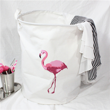 40*50cm INS collapsible cotton canvas art oversized flamingo laundry bucket Clothes Storage Basket Laundry Dirty
