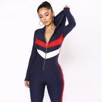 England stylish women jumpsuit slim fit rompers women jumpsuit full length patchwork overalls body femme B9060