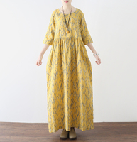 Vintage Elegant Long Dress Women High Waist Roud Neck Boho Flower Print Office Female Dress Good